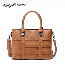 Gykaeo Designer High Quality Women Vintage Pu Leather Shoulder Bag Purse