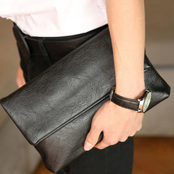 Black Unisex PU Leather Envelope Clutch Purse
