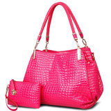 AOILDLLI Crocodile Pattern Top-Handle Purse