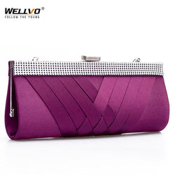 Wellvo Women Sequined Criss-Cross Clutch Purse