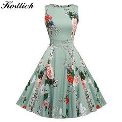 Kostlich Floral Print Sleeveless Summer Dress Women