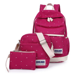 3Pcs/Sets Canvas Preppy Style School Backpacks purses