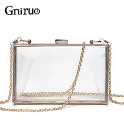 Gnirue Women Chain Box Transparent Clutch Purse