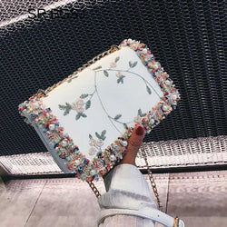 Embroider Flower Lady Woman Leather Shoulder Bag Clutch Purse