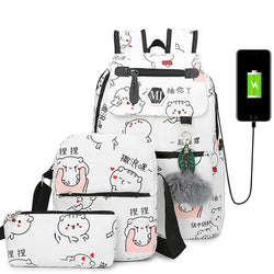Bansusu 3 Pcs/Set USB Charging Canvas Backpack