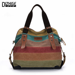 DIZHIGE Large Canvas Striped Patchwork Tote Handbag Purse