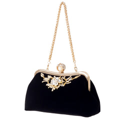 Velvet Diamond Pearl Vintage Velour Crystal Flower Purse
