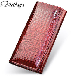 DICIHAYA Genuine Leather Women's Red Crocodile Wallet Purse