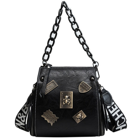 Renduan Metal Badge Appliques Crossbody Bag Purse