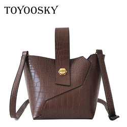 TOYOOSKY  Leather Women Crossbody Stone Alligator Bucket Shoulder Bag  Crossbody Purse