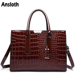 Ansloth Luxury Women's Top-handle Crocodile Pattern Leather Purse