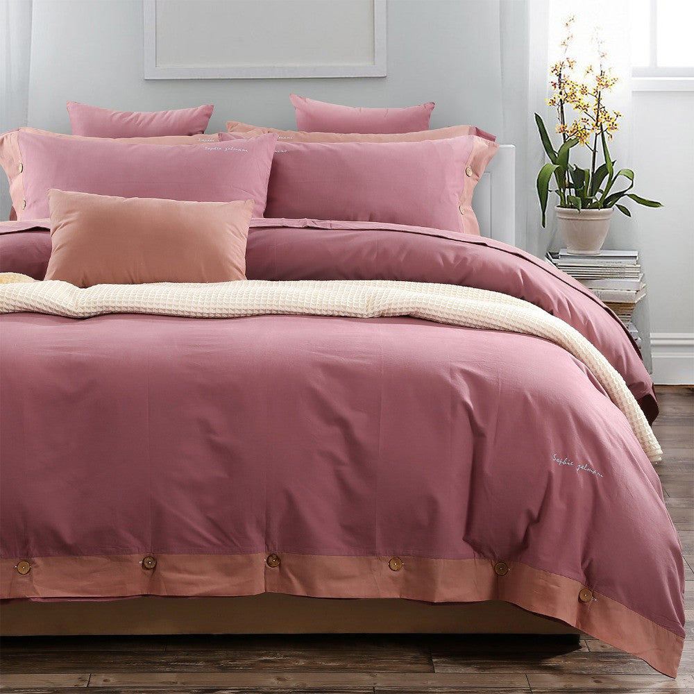 High Quality Soft Simple Button Border Bed Cover Set