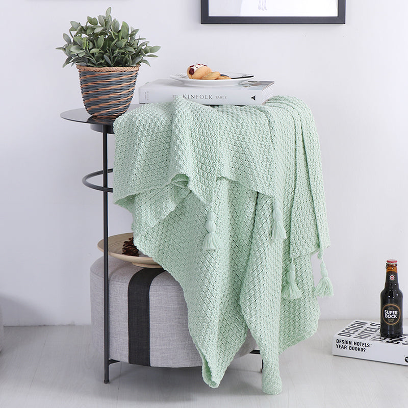 Pure Cotton Grass Green Solid Color Knit+Pendant Blanket Home Textile Plaid Solid Air/Sofa/Bedding Throws Blankets  Winter Warm