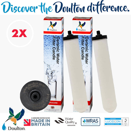 VALUE PACK! 2 UNITS Doulton UCC 9504 Ultracarb Ceramic Water Filter Candle, Black Cap