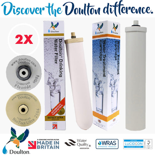 VALUE PACK! DOULTON BIOTECT ULTRA 2504 + DOULTON FLUORIDE REDUCTION WATER TREATMENT WATER CARTRIDGE
