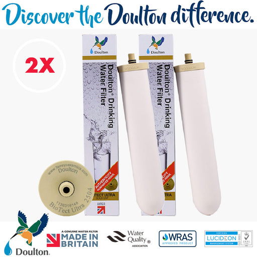VALUE PACK! 2 PCS, Doulton BioTect Ultra BTU 2504 Ceramic Water Filter Candle M12 Short Thread Mount