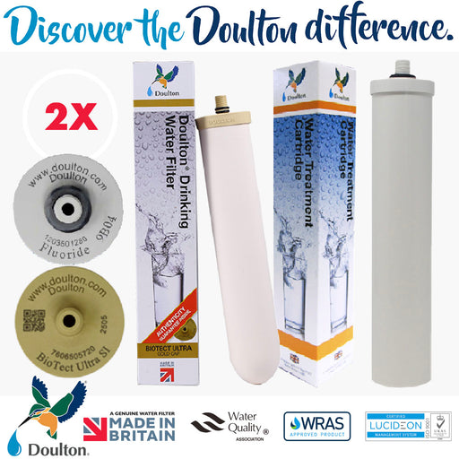 VALUE PACK! DOULTON BIOTECT ULTRA 2505 SI + DOULTON FLUORIDE REDUCTION WATER TREATMENT WATER CARTRIDGE