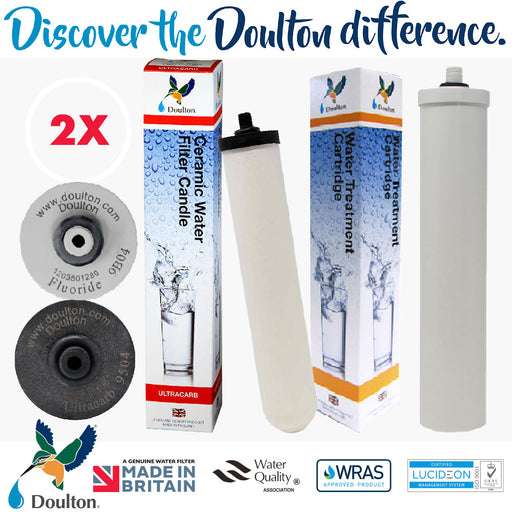 VALUE PACK! DOULTON Ultracarb UCC 9504 + DOULTON FLUORIDE REDUCTION WATER TREATMENT WATER CARTRIDGE
