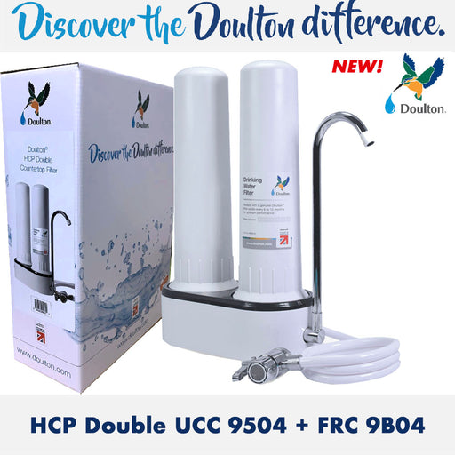 NEW! Doulton HCP-Double Ultracarb UCC 9504  Ceramic Water Filter Candle + Fluoride Water Treatment Water Filter BSP Short Thread Mount