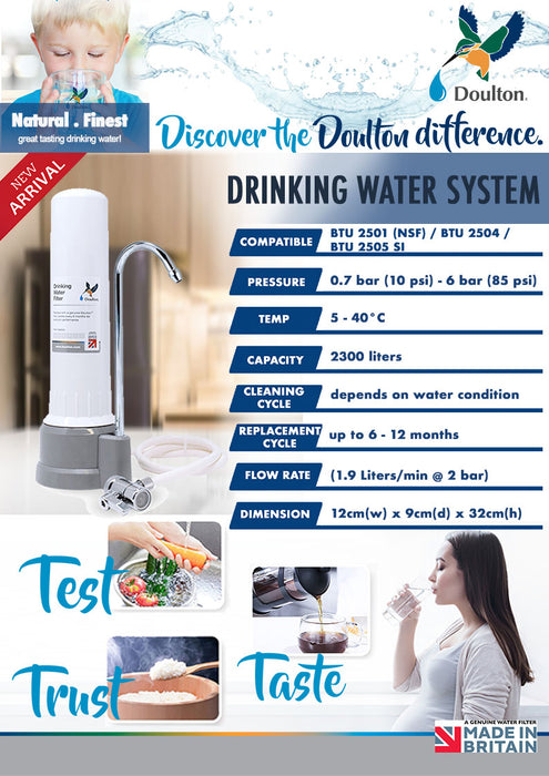 (*Limited for 10 units Systems Only) Doulton HIPCT Biotect Ultra 2501 Natural, Healthy, Finest Great Tasting Drinking Water System (GREY)