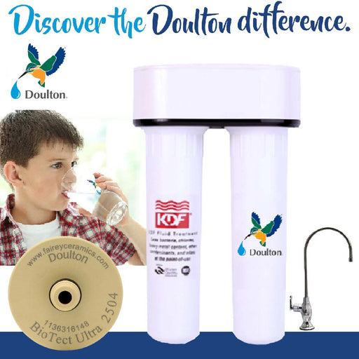 Doulton HIP2 BioTect Ultra 2504 + KDF Pre Filter [Under Counter Water Filtration System]