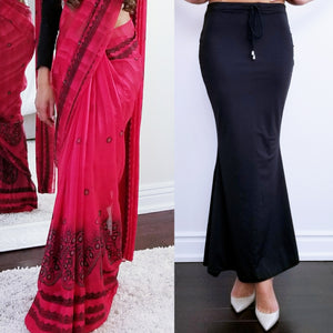 Regular Black Saree Silhouette worn with a Georgette Saree.