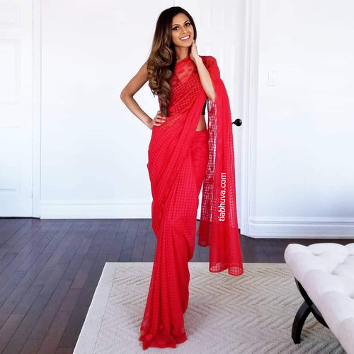 Red Lace Saree