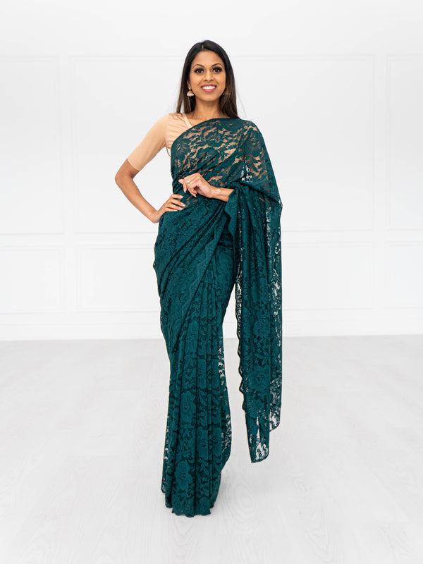 Lace Saree | Emerald Saree |