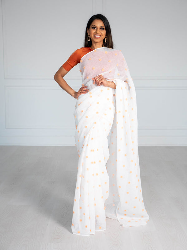 Fuzzy Peach Saree | White Saree |