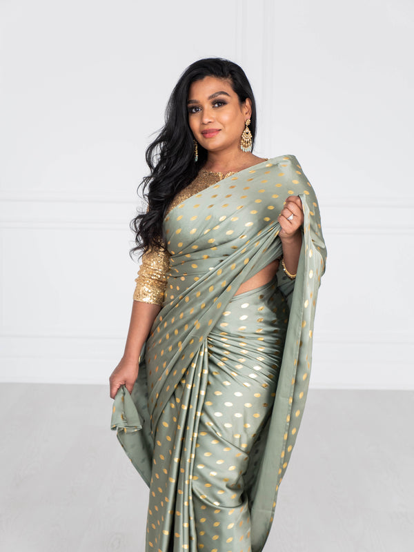 Luxe Saree | Satin Silk Saree | Foil Saree