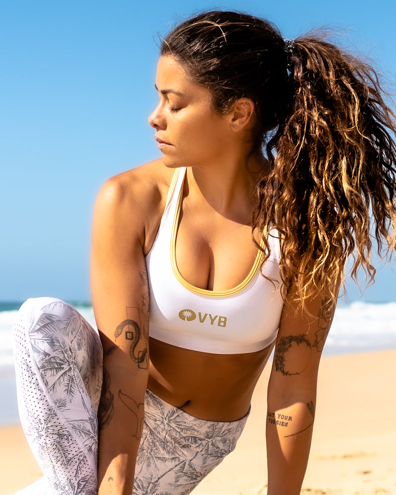 VYB Pro Sports Bra White & Gold