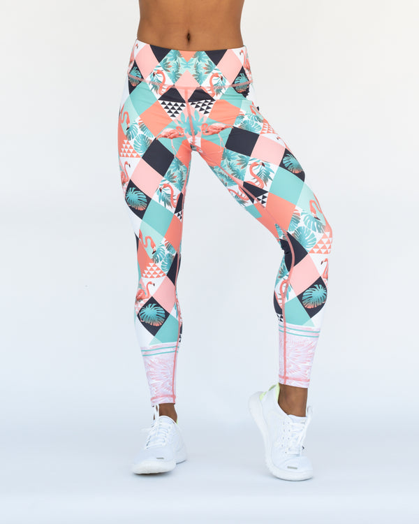Diamond Flamingo 7/8 Length Leggings