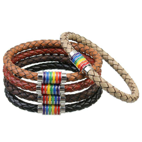 Black Brown 100% Genuine Braided Leather Bracelet Women Men Stainless Steel LGBT - CoventryMall