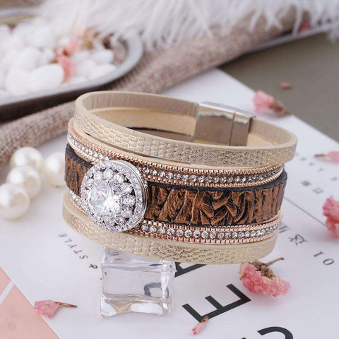 Partner beads snap 8.26 inch PU leather bracelets - CoventryMall