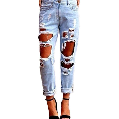 Slim Hole Ripped Jeans for Women Mid Waist Denim Plus Size fashion Pants Blue - CoventryMall