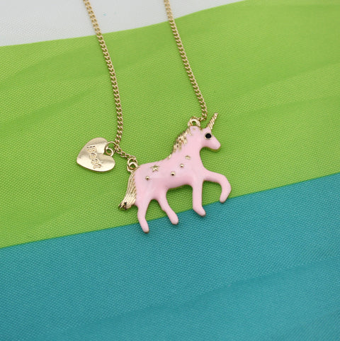 "Trusta Fashion Jewelry 17"" Necklace Loverly Pink Unicorn Pendant Necklaces - CoventryMall"