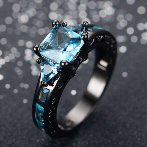 Aquamarine Gemstone Rings - 10kt Black Gold Plated - CoventryMall