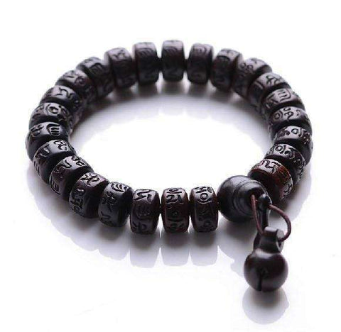 Hand-carved Peachwood Malas Tibetan Buddhist Prayer Bracelet - CoventryMall