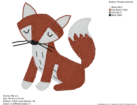 Little Red Fox Embroidery Design & Digitizing