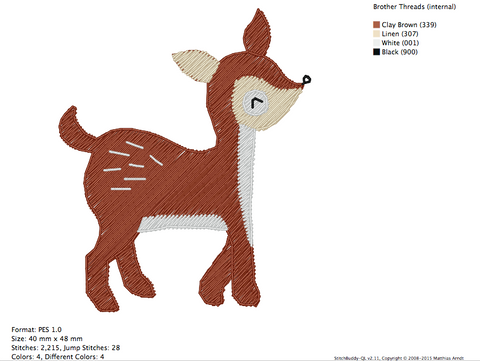 Deer 1 - Animals - Embroidery Design | Embroidery Gurus
