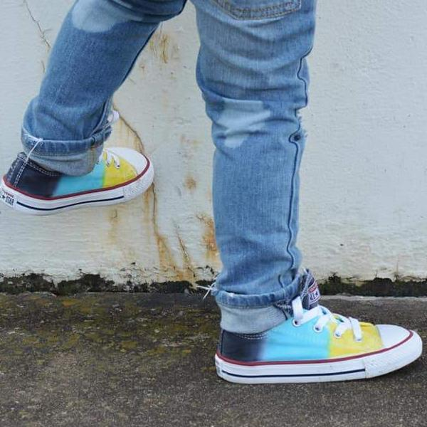 Tie Dye Faded Converse Shoes Navy Aqua and Yellow