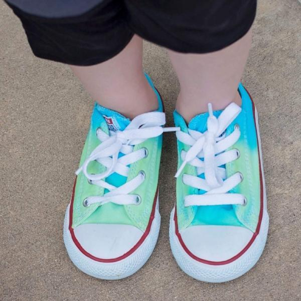 Tie Dye Faded Converse Shoes Aqua and Lime