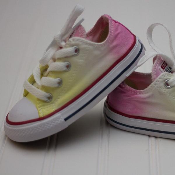 Tie Dye Faded Converse Shoes Pink White and Yellow