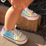 Tie Dye Faded Converse Shoes Purple Aqua and Yellow