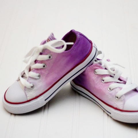 Tie Dye Faded Converse Shoes Purple Pink and White