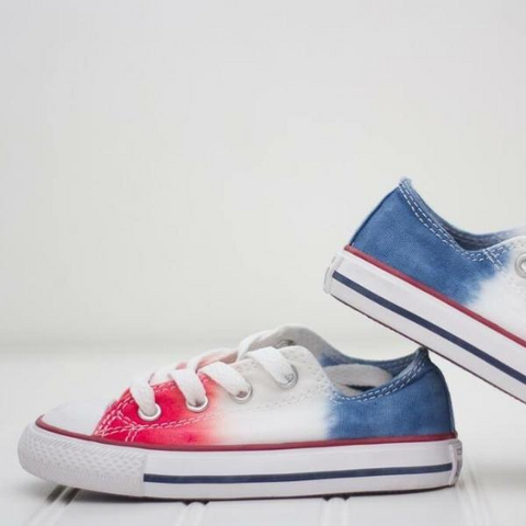 Tie Dye Faded Converse Shoes Red White and Blue