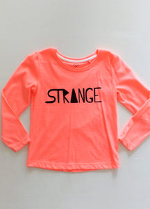 Girls Fluro Pink Long Sleeve Tee with Strange Logo