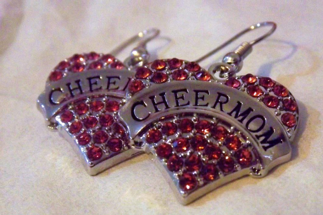 Cheer Mom Heart Pink Diamante Earrings