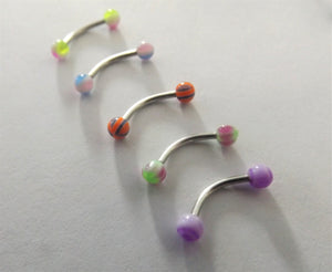 Colourful Stainless Steel Eyebrow Piercing