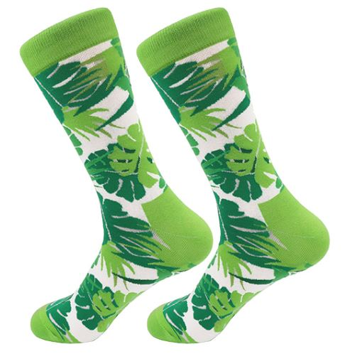 Green Floral Palm Socks